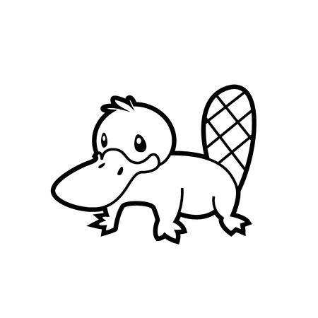 aborigine: platypus line drawing vector Australian aborigine - sign is useful for creating a logo design design or coloring book