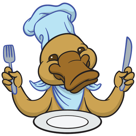 platypus: Funny happy cartoon platypus or duckbill with knife and fork