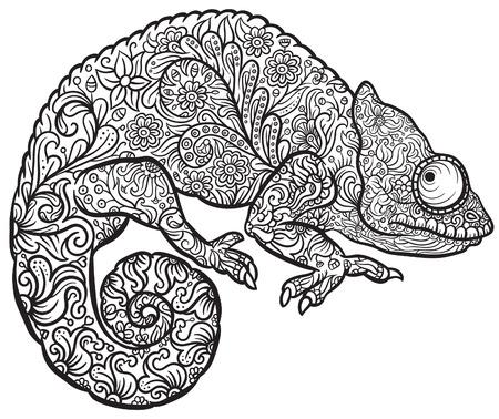 Zentangle은 멀티 컬러 카멜레온 양식에 일치시키는. 문신 또는 인쇄 낙서 스타일에서 손으로 그린 파충류 벡터 일러스트 레이 션