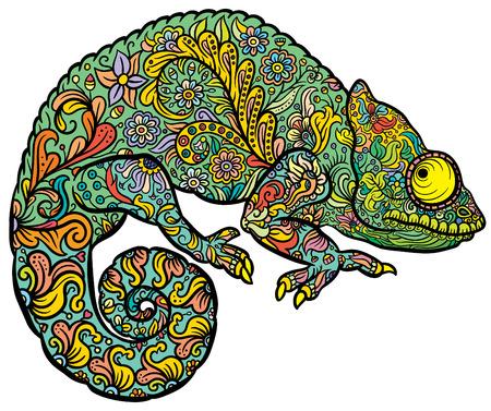 様式化された Zentangle マルチ色のカメレオン。手描画爬虫類ベクトル イラスト落書き入れ墨のスタイルまたは印刷  イラスト・ベクター素材