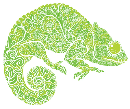 multi coloured: Zentangle stylized multi coloured Chameleon. Hand Drawn Reptile vector illustration in doodle style for tattoo or print Illustration