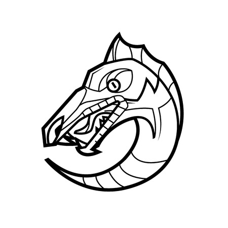 dragon head: decorative dragon head in a circle mythical creature -