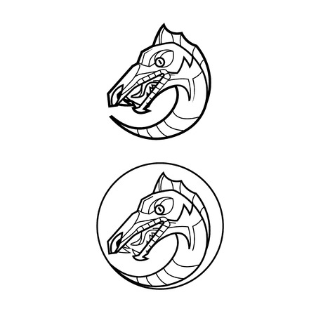 decorative dragon head in a circle mythical creature -