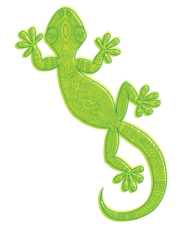 saurian: Vector drawing of a lizard gecko with ethnic patterns - image lizard as a tattoo. Illustration