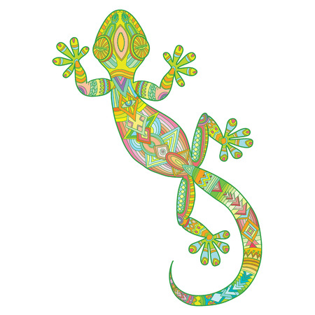 Vector drawing of a lizard gecko with ethnic patterns - image lizard as a tattoo. Illustration
