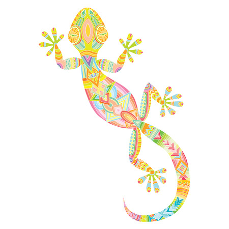 lizard: Vector drawing of a lizard gecko with ethnic patterns - image lizard as a tattoo. Illustration