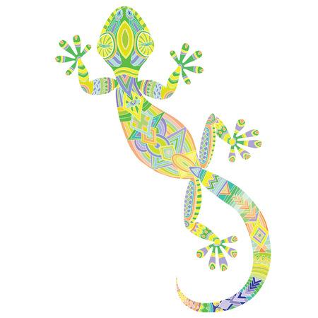 Dibujo vectorial de un lagarto gecko con los patrones étnicos - imagen lagarto como un tatuaje.