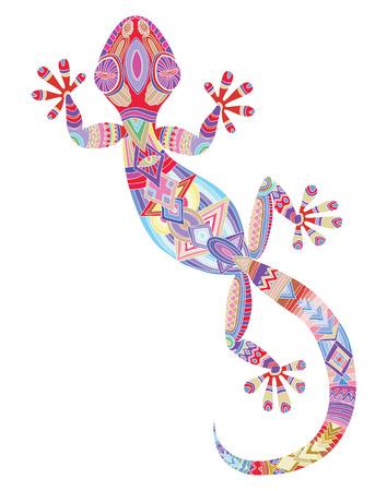 Vector tekening van een hagedis gekko met etnische patronen - hagedis als een tatoeage. Stock Illustratie