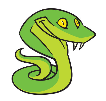 poisonous substances: Snake with a smile - hand draving, vector, illustration Illustration