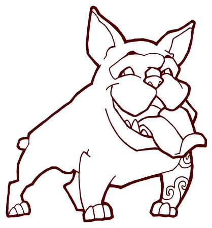 british bulldog: happy bulldog - hand drawing vector illustration