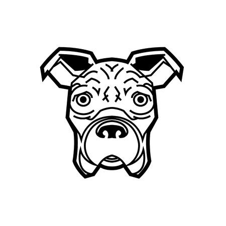 cute German boxer dog looking at us asking bone drawn vector