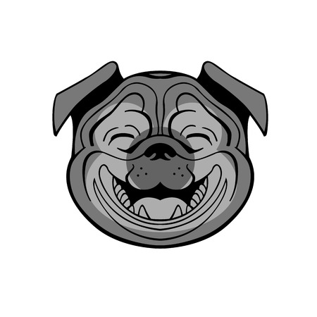 carlin: perky pug smiling from ear to ear he joyful and pleasant vector can be used to store   signage dog food