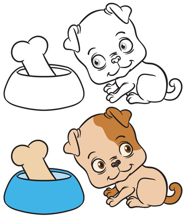 short haired: vector color and black outline sketch of the dog sits - cartoon illustration of dog with bowl and bone