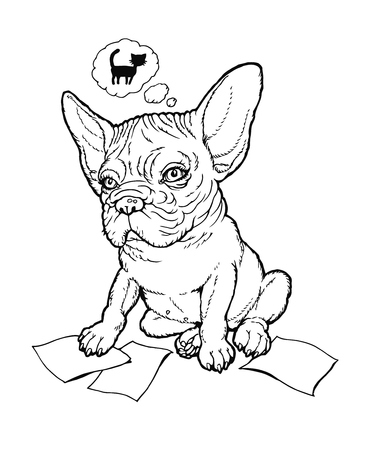 plump: Black and white line drawing plump french bulldog puppy thinking about cat. From a series of images of funny dogs. Illustration