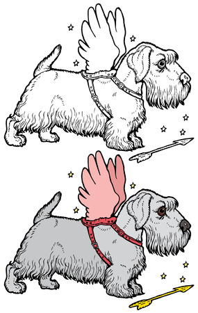 small dog: Scottie Dog with angel wings Illustration