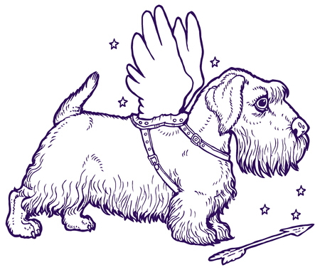 cute dog: White Sealyham Terrier dressed as Cupid. Cute dog with wings. Illustration