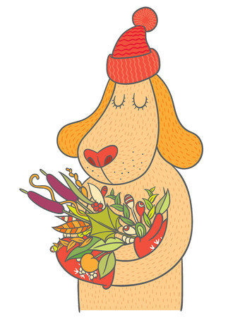 restful: Cute dog in cap and mittens holding autumn bouquet - vector hand drawing illustration