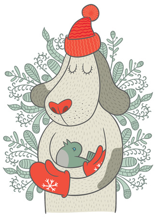 restful: Cute dog in cap and mittens holding cute little bird - vector hand drawing illustration