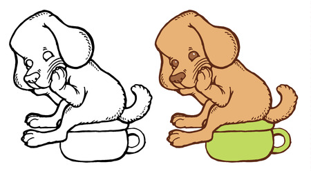 Cute puppy on toilet training potty - hand drawing vector illustration Illustration