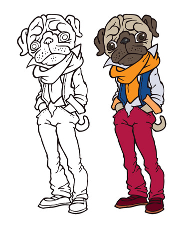 anthropomorphism: funny pug dressed like hipster - jeans, scarf and vest - vector cartoon drawing