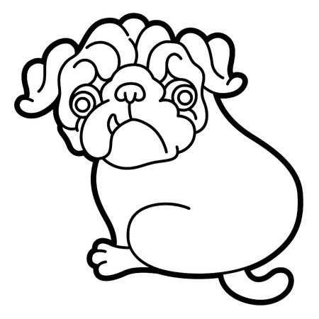 pug puppy: Pug cute puppy vector cartoon illustration - Pug-dog isolated on white background