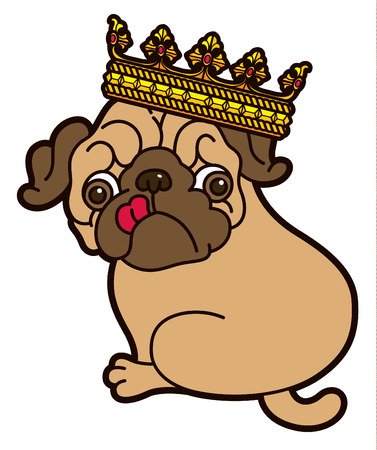 pug puppy: Pug cute puppy in the crown vector cartoon illustration - Pug-dog isolated on white background Illustration