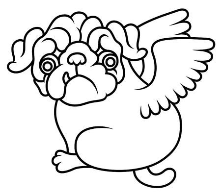 pug puppy: Pug cute puppy with wings vector cartoon illustration - Pug-dog isolated on white background