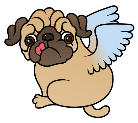 asian angel: Pug cute puppy with Angel wings vector cartoon illustration - Pug-dog isolated on white background