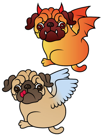 angel devil: Pug cute puppies Angel and Demon vector cartoon illustration - Pug-dog isolated on white background