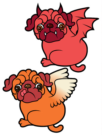 asian angel: Pug cute puppies Angel and Demon vector cartoon illustration - Pug-dog isolated on white background
