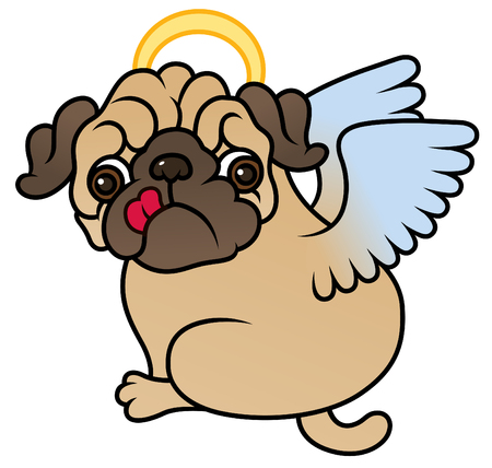angel white: Pug cute puppy with Angel wings vector cartoon illustration - Pug-dog isolated on white background