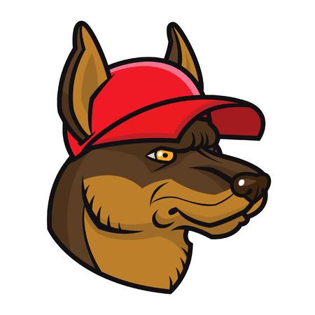 Vector illustration cartoon dog in cap - sports mascot character face Illustration