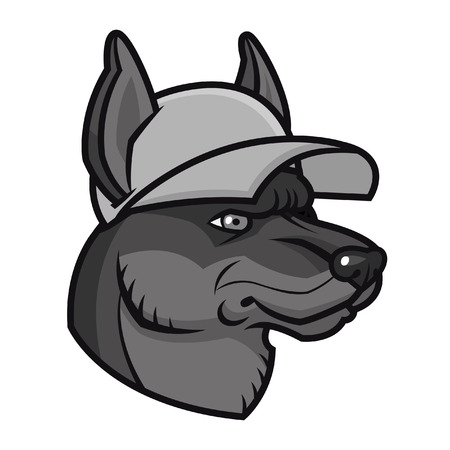 snarling: Vector illustration cartoon dog in cap - sports mascot character face Illustration