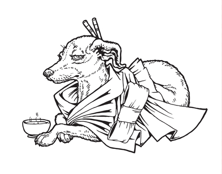 Black and white line drawing Japanese Terrier in a kimono with a cup of tea. From a series of images of funny dogs.