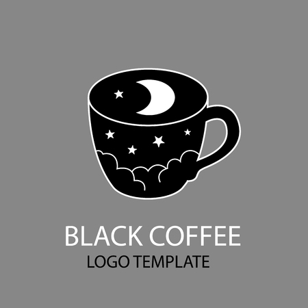 crescent moon: coffee cup logo template black night sky with stars and crescent moon stylized vector