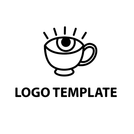 mocca: coffee cup logo template black eye pupil and iris stylized vector