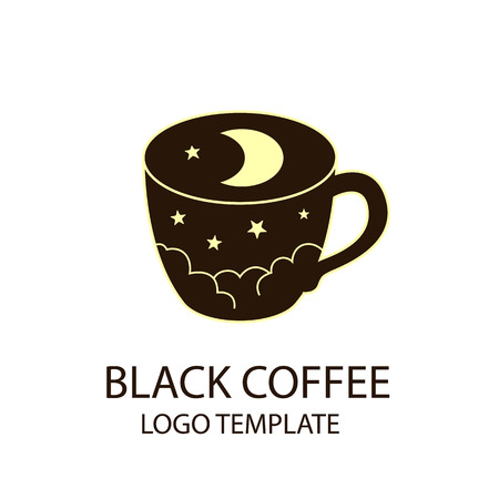 mocca: coffee cup logo template black night sky with stars and crescent moon stylized vector