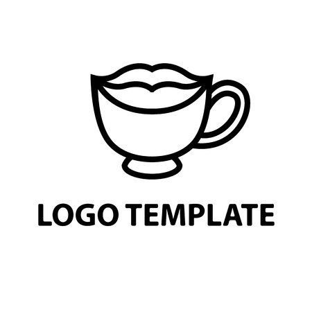 lips smile: cup of black coffee template logo lips smile stylized vector