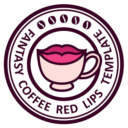 lips smile: cup of black coffee template sign lips smile stylized vector