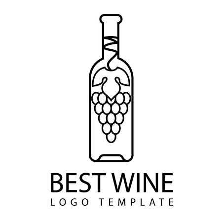 bottle of wine with  logo template bunch of grapes  and leaf