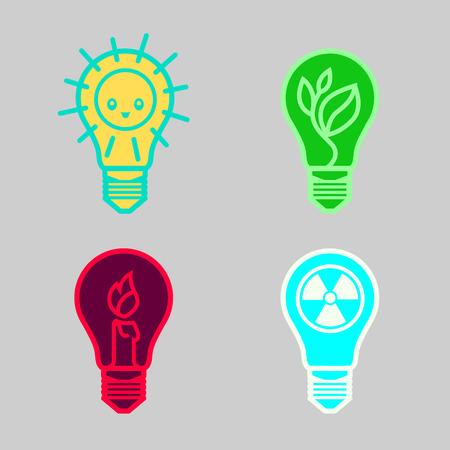 símbolos bulbos de diferentes tipos de energía solar renovable nuclear no renovable adecuados como plantilla para el diseño de logotipos y signos