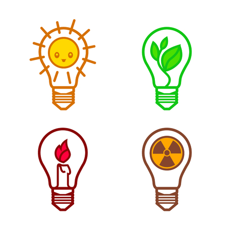 nonrenewable: bulbs symbols of different types of renewable energy nuclear non-renewable solar suitable as a template for the design of logos and signs