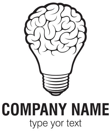 脳のベクトルのロゴのテンプレートと電球を考えて。ロゴなど企業のアイコン。創造的な電球アイデア脳のベクトル。  イラスト・ベクター素材