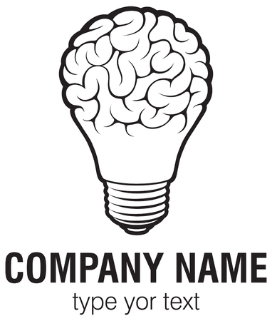 Light bulb idea with brain vector logo template. Corporate icon such as logotype. Creative light bulb idea brain vector.