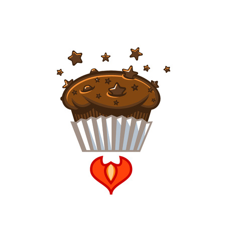 rocketship: Fresh chocolate star chip space muffin sign template Illustration