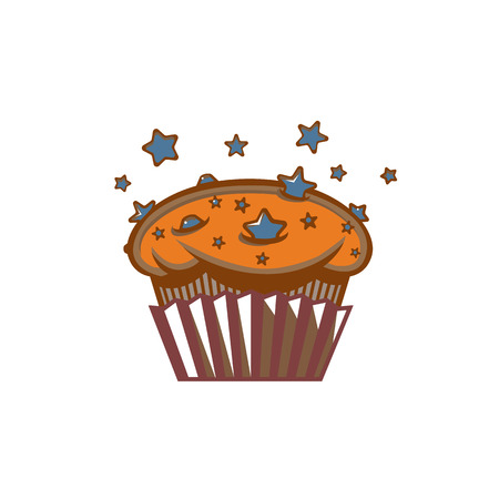 bakery store: Fresh chocolate star chip space muffin sign template Illustration