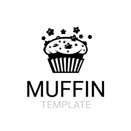 Fresh chocolate star chip space muffin sign template Illustration
