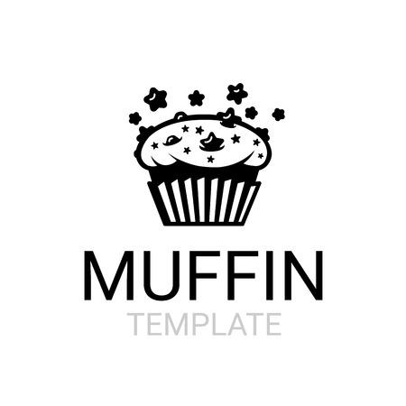 Verse chocolade ster chip ruimte muffin teken sjabloon
