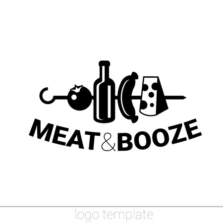 alehouse: Meate and booze original logo design template for beer house, bar, pub, brewing company, brewery, tavern, taproom, alehouse, beerhouse, dramshop, restaurant, skewer Illustration