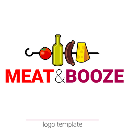 alehouse: Meate and booze original design template for beer house or bar, pub, brewing company, tavern taproom alehouse, beerhouse dramshop restaurant skewer